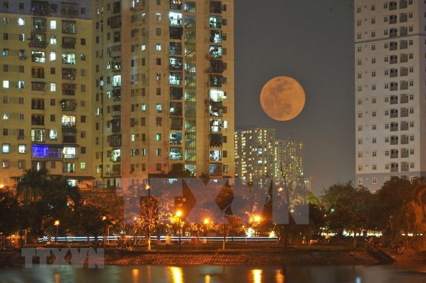 Final supermoon of 2020 above Hanoi sky