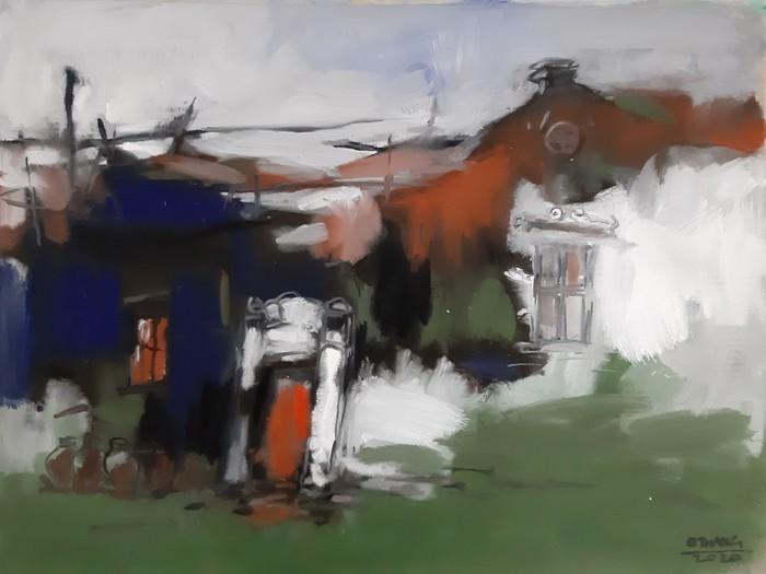 Ngôi làng 400 tuổi được tái hiện qua 50 bức tranh bột màu