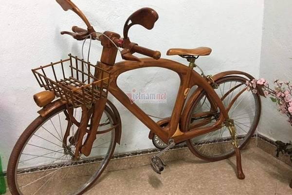 Sành điệu với xe đạp gỗ giá 10 triệu của thợ mộc Thái Nguyên