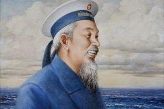 Họa sĩ Nguyễn Thu Thủy tặng tranh Bác Hồ tại Bộ Tư lệnh Hải quân