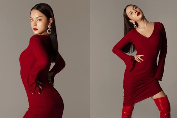 Phạm Quỳnh Anh diện váy đỏ ôm sát tôn đường cong nóng bỏng