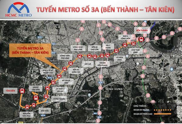 Tuyến Metro 3A - 'điểm cộng' của trung tâm hành chính Bình Chánh