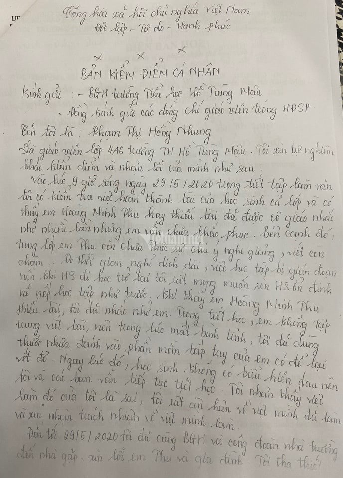 Bản tường trình của cô giáo trẻ đánh học sinh bầm tím tay