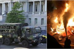 Xem xe vệ binh quốc gia Mỹ chạy rầm rập ở thủ đô Washington