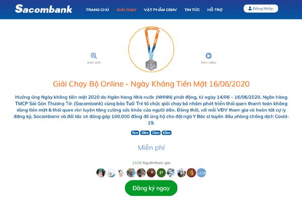 Giải chạy trực tuyến hưởng ứng Ngày không tiền mặt 2020
