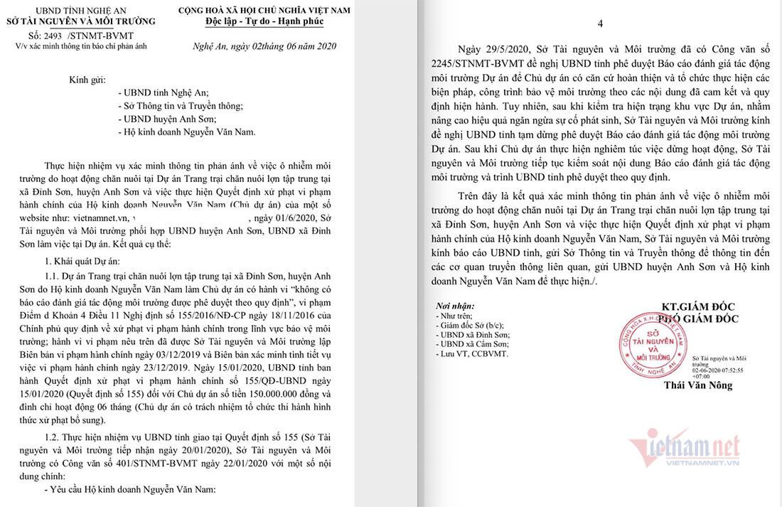 Trại lợn gần 1.000 con xả mùi hôi thối, Nghệ An ra 'tối hậu thư'