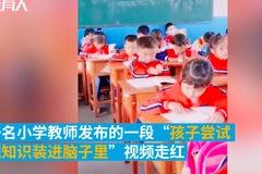 Xem bé trai dùng tay xúc kiến thức nhồi vào đầu trước kỳ thi