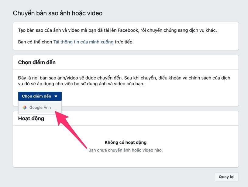 Cách sao lưu toàn bộ ảnh và video từ Facebook sang Google Photos