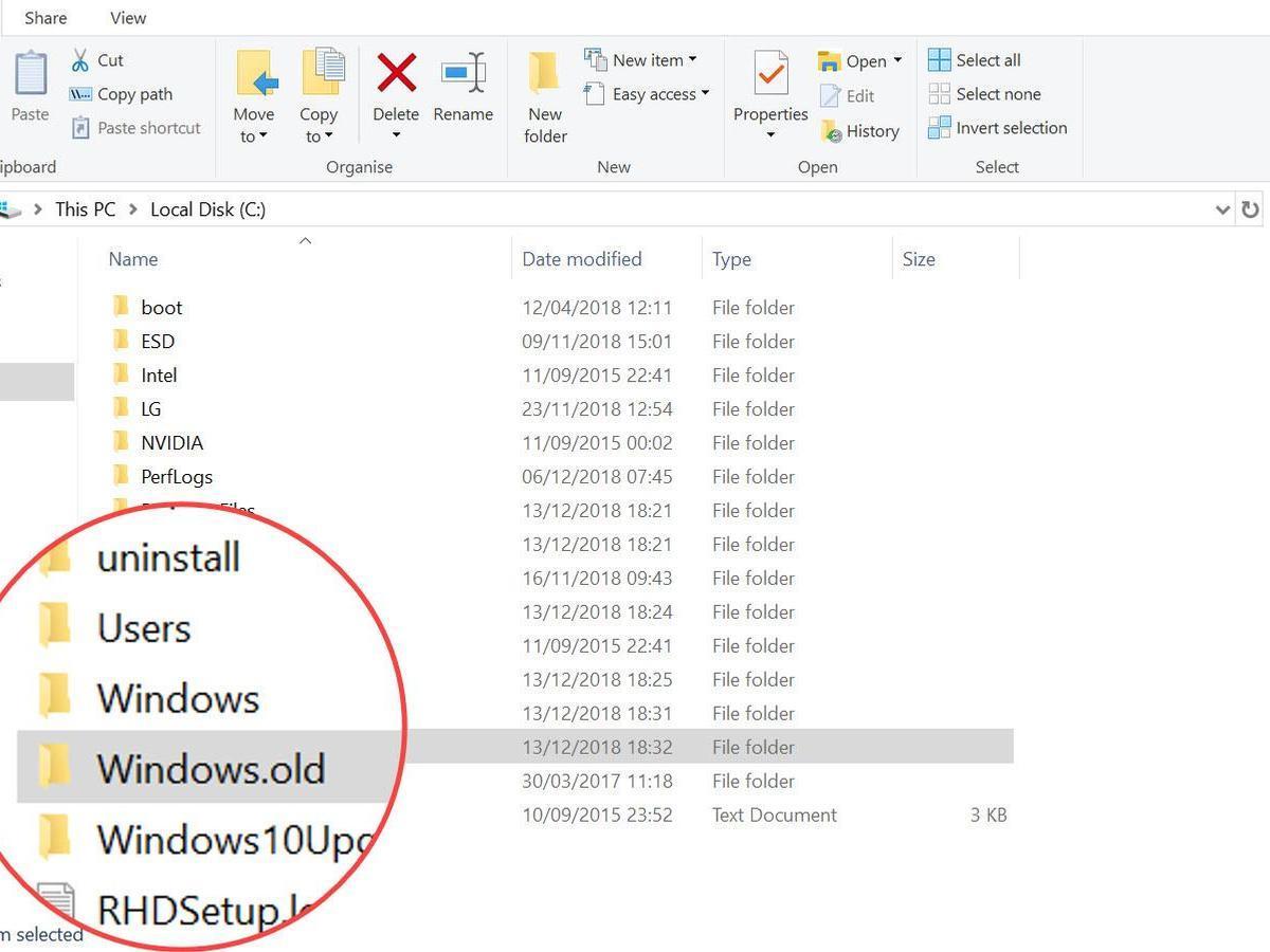 Cách lấy lại dung lượng ổ cứng sau khi cập nhật Windows