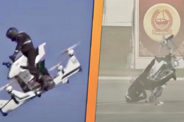 Cảnh sát Dubai ngã dúi dụi khi thử nghiệm xe bay