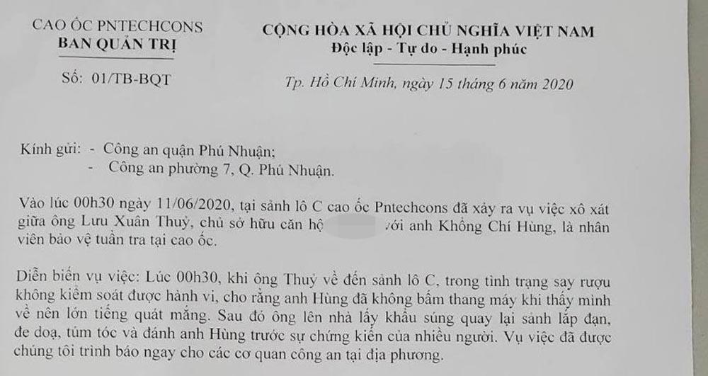 Doanh nhân cầm súng dọa và đánh bảo vệ chung cư ở Sài Gòn