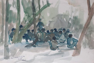 Sketches showing different aspects of life on display