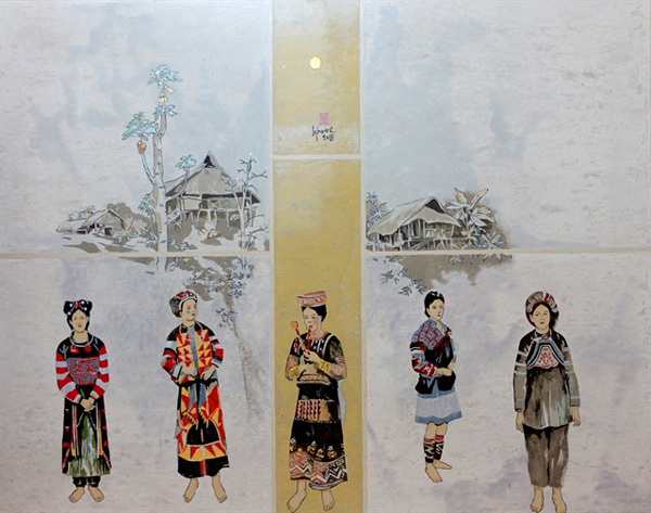 Watercolour paintings,traditional clothes of ethnic groups