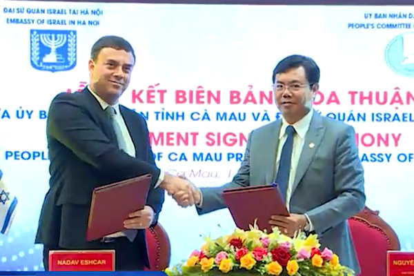 Đại sứ quán Israel và Cà Mau ký kết thỏa thuận hợp tác