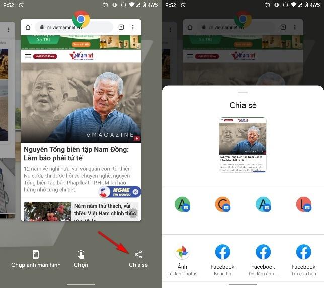 Cách chụp ảnh màn hình từ trình đơn đa nhiệm của Android 11