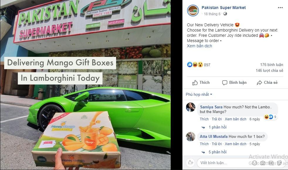 Shipper lái siêu xe Lamborghini Huracan để giao xoài cho khách