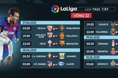 Lịch thi đấu vòng 32 La Liga: Real chạm trán Espanyol