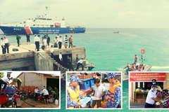 VN coast guards support poor fishermen after social distancing