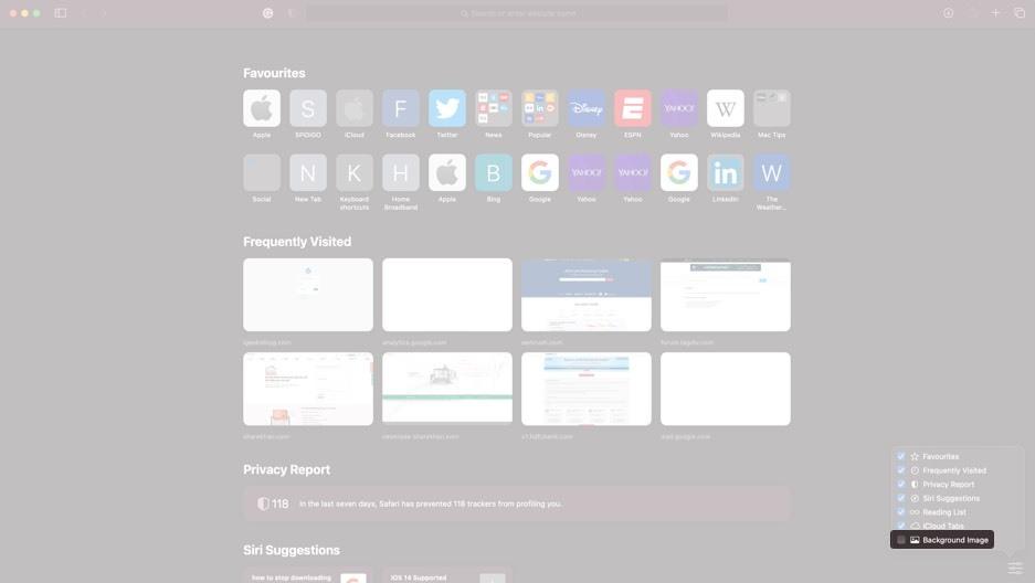 Cách đổi hình nền trang khởi động Safari trên macOS Big Sur