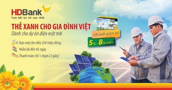 HDBank hỗ trợ vốn vay lắp đặt điện mặt trời