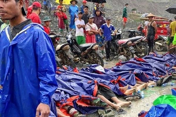 Thi thể xếp hàng dài vụ sập mỏ ngọc bích ở Myanmar