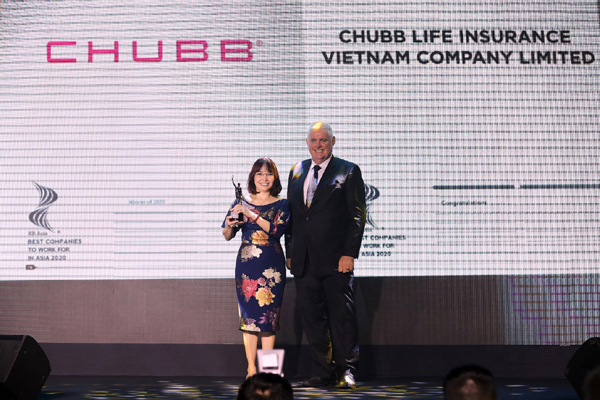 """Chubb Life Vietnam honored """"Best Companies to Work for in Asia 2020"""""""
