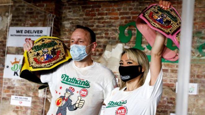 Coronavirus: Records broken at socially distanced hot dog contest