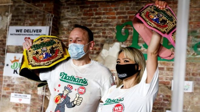 Coronavirus: Records broken at socially distanced hot dog contest