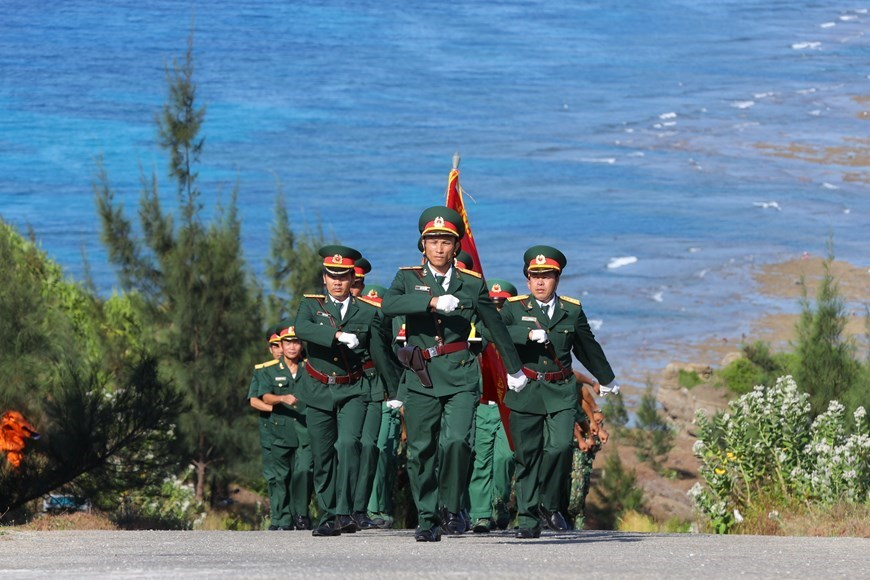 Flag-raising ceremony on Ly Son island