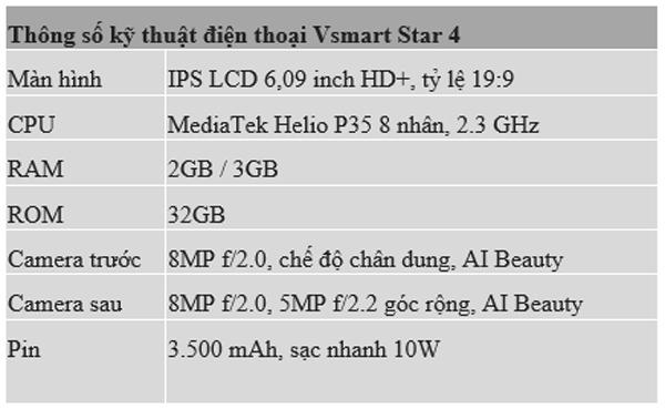 Ra mắt Vsmart Star 4, giá chỉ hơn 2 triệu đồng