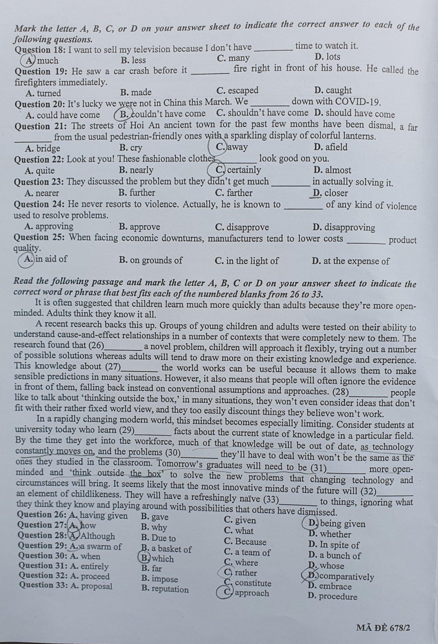 Đề thi Tiếng Anh vào lớp 10 Chuyên Khoa học Xã hội và Nhân văn
