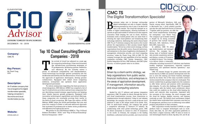 CMC TS được vinh danh Top 10 doanh nghiệp cung cấp dịch vụ điện toán đám mây