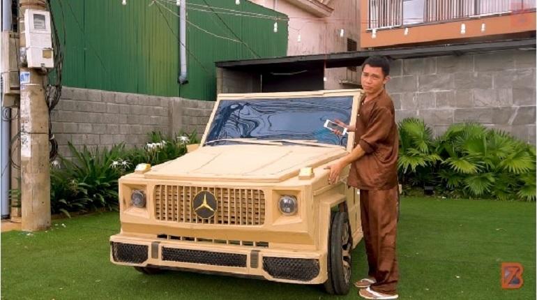 Chàng trai Đắk Lắk tự chế Mercedes bằng bìa các-tông, động cơ 200 nghìn đồng