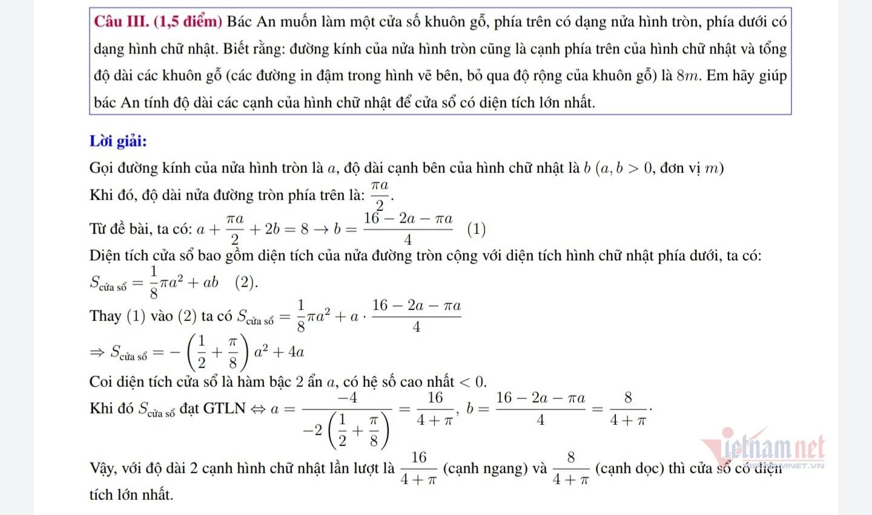 Lời giải đề Toán điều kiện vào lớp 10 Chuyên Sư phạm