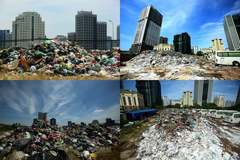 'Núi' rác ngồn ngộn án ngữ trong khu đô thị bốc mùi dưới nắng 40 độ