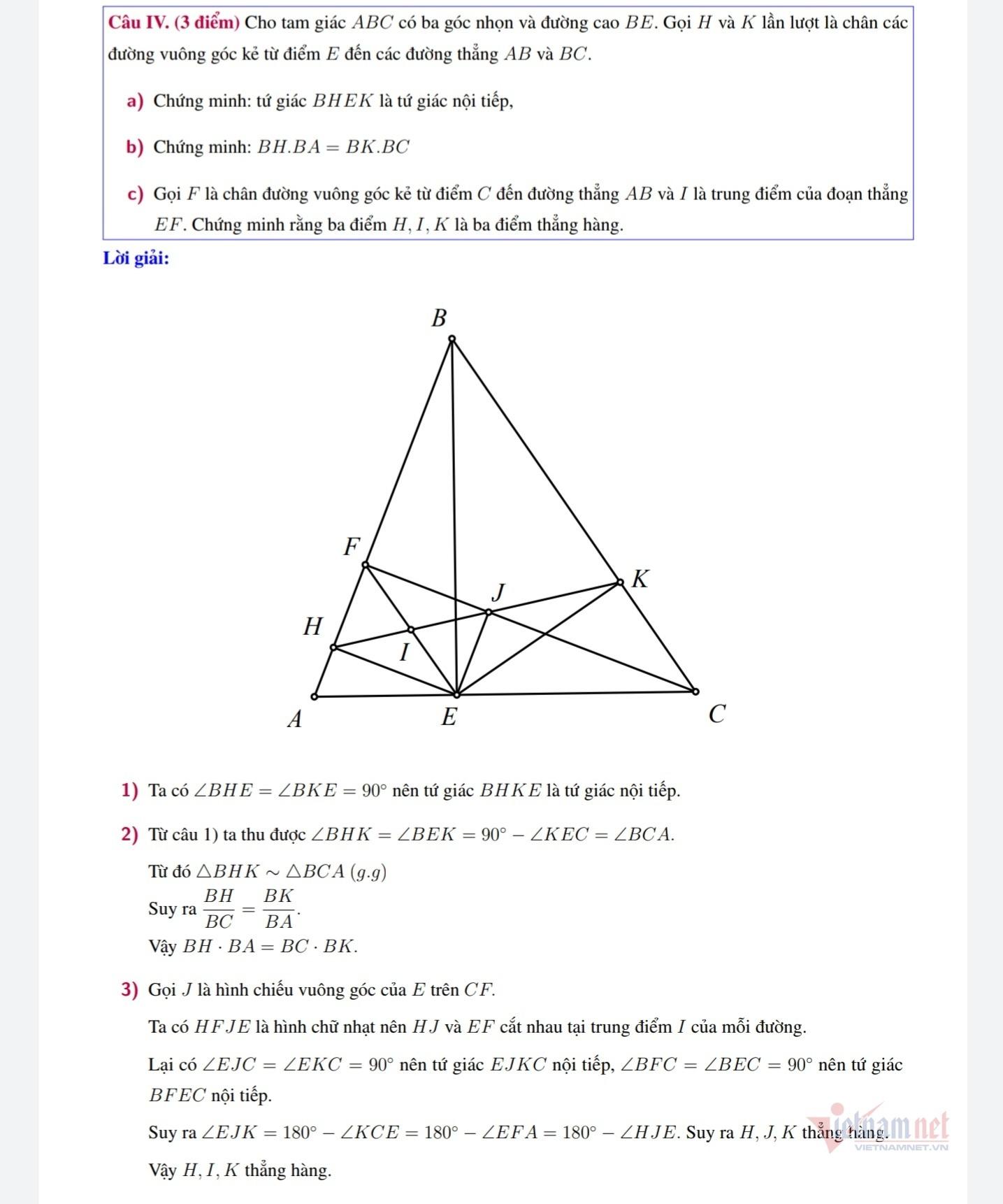 Lời giải đề thi lớp 10 môn Toán của Hà Nội 2020