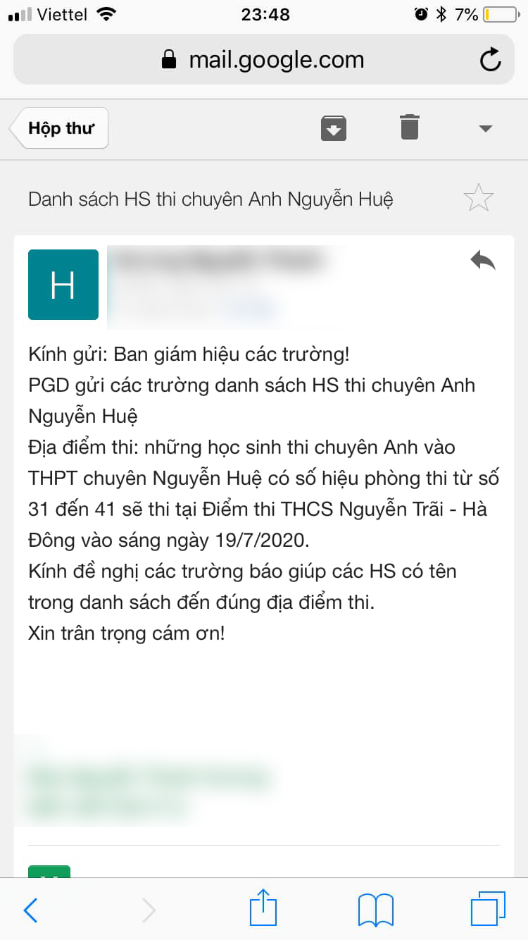 Hà Nội: Thí sinh thi lớp 10 bất ngờ nhận tin đổi địa điểm thi lúc nửa đêm