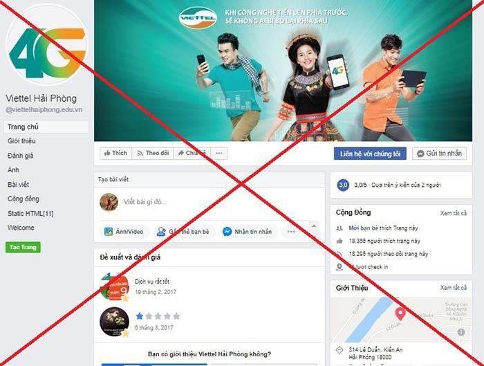 Mạo danh Viettel trên Facebook nhằm trục lợi bất chính