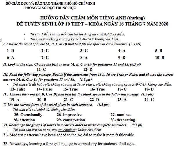 Đáp án chính thức môn tiếng Anh thi lớp 10 TP.HCM năm 2020