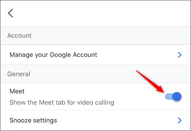 Cách tắt vĩnh viễn thẻ Google Meet trên Gmail dành cho smartphone