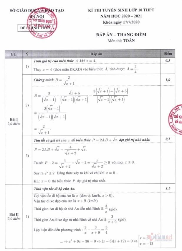 Đáp án chính thức môn Toán thi lớp 10 Hà Nội 2020