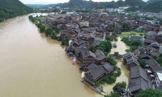 Hình ảnh những di tích, danh thắng Trung Quốc 'ngụp lặn' trong lũ