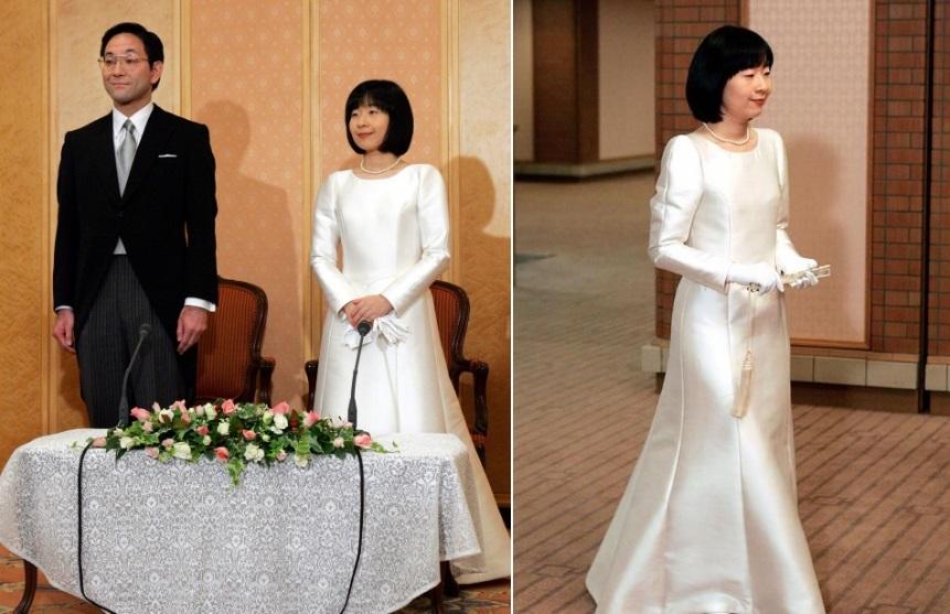 Váy cưới hoàng gia, người mặc giản dị, người dát vàng, kim cương