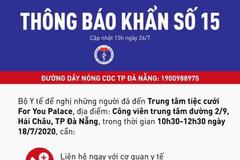 Thông báo khẩn tìm người đến tiệc cưới ở Đà Nẵng