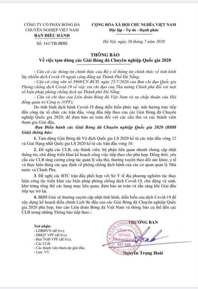 V-League tạm hoãn để phòng chống Covid-19