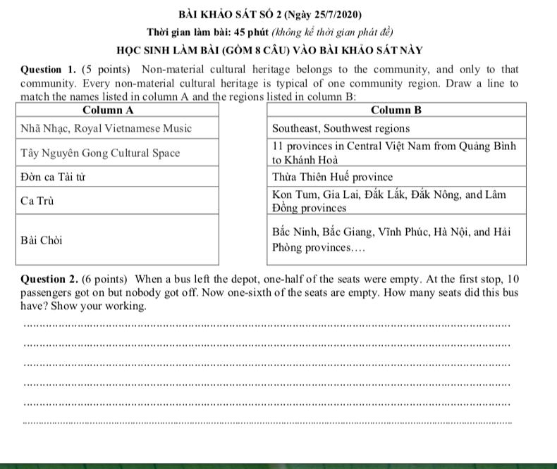 Công bố đề thi và đáp án vào lớp 6 trường Chuyên Trần Đại Nghĩa