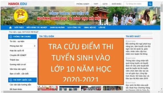 Tra cứu điểm thi lớp 10 qua cổng điện tử hỗ trợ tuyển sinh trực tuyến củaTP Hà Nội