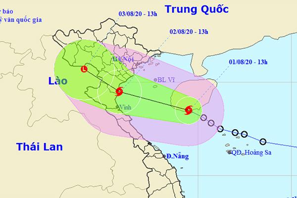 Bão giật cấp 10 cách Thái Bình-Nghệ An 450km, biển động rất mạnh