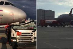 Xe bồn nát đầu vì đâm vào máy bay ở Nga