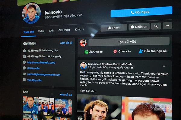 Ivanovic đã lấy lại Facebook, khẳng định thủ phạm là hacker Việt Nam